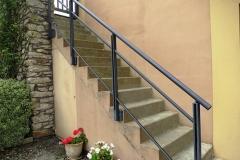 Garde-corps main courante aluminium rampant sur escalier - Herbignac