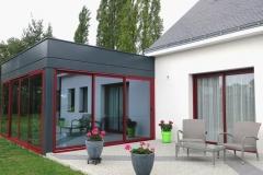 Veranda avec habillage aluminium et baie coulissante - Herbignac